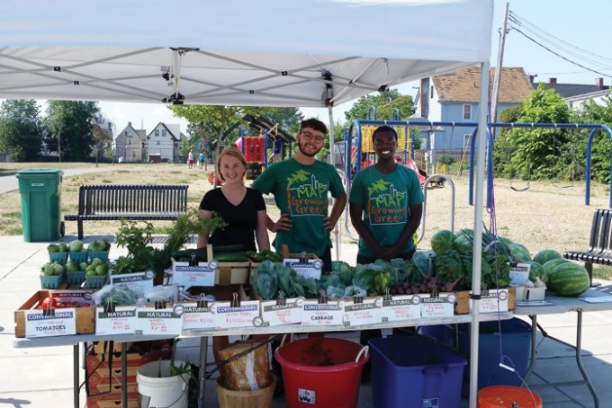 MAP's farmers market is staffed by youth program participants.