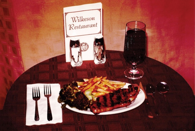 A steak dinner at Wilkeson Restaurant.
