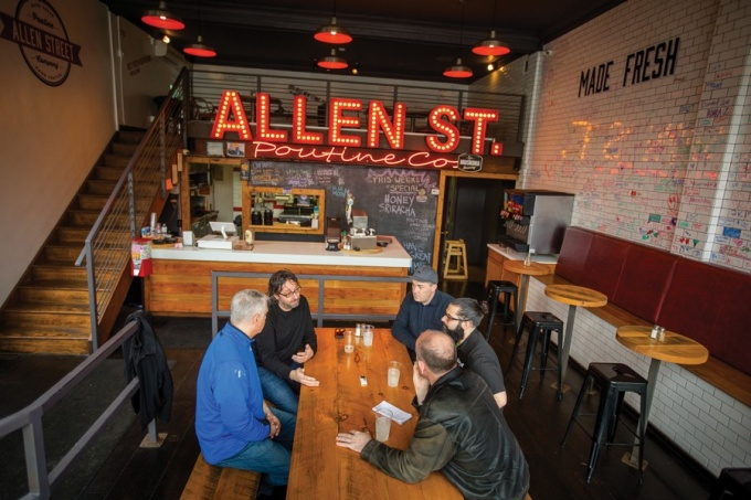 Alumni restaurant owners at Allen Street Poutine Company, Buffalo, N Y