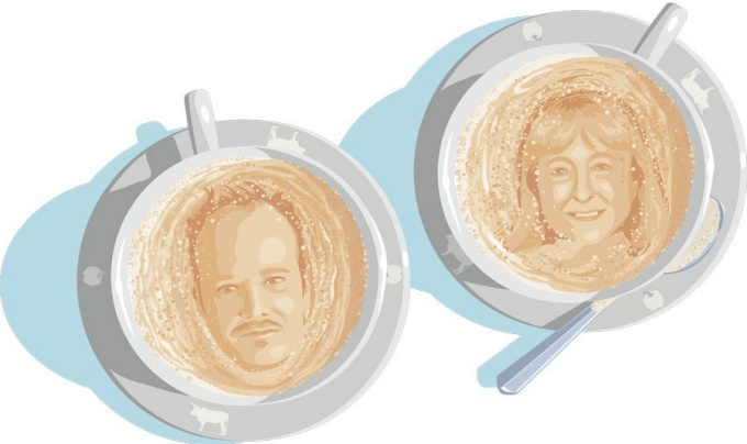 An illustration of Chad Lavin and Debra Street in coffee foam