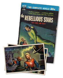 Science fiction book cover and trading card