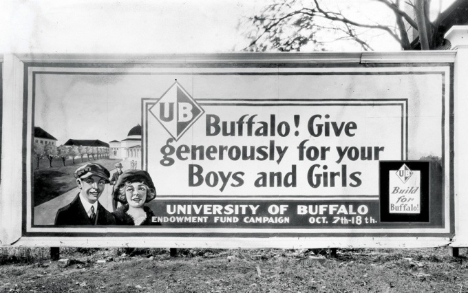 "1920 ""Build for Buffalo"" UB endowment fund campaign billboard."