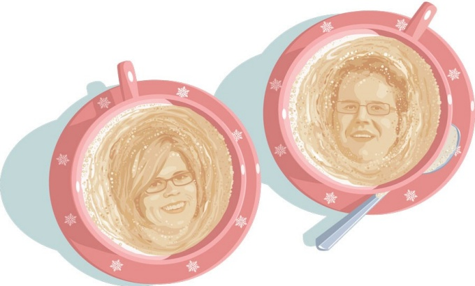 An illustration of Jennifer Temple and Marc Kiviniemi's faces in the foam of two cups of coffee