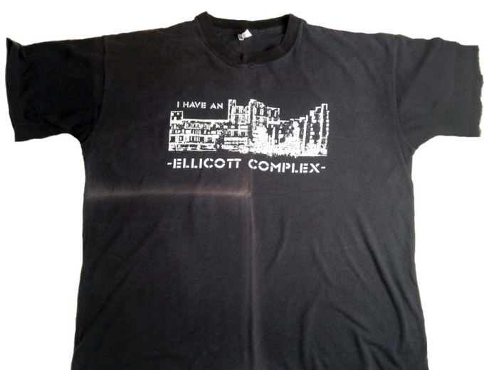 "Photo of a vintage t-shirt with ""I have an Ellicott Complex"" slogan"