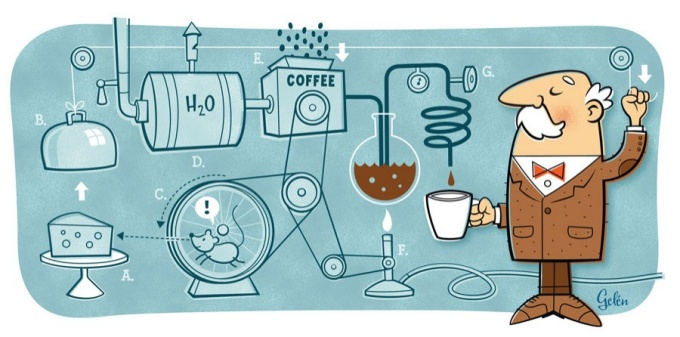 An illustration of a humorous interpretation of how coffee is made.