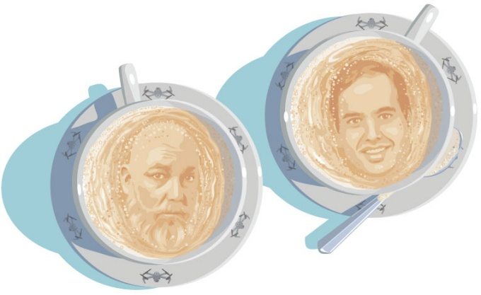 An illustration of Mark Shepard and Puneet Singla with coffee cups