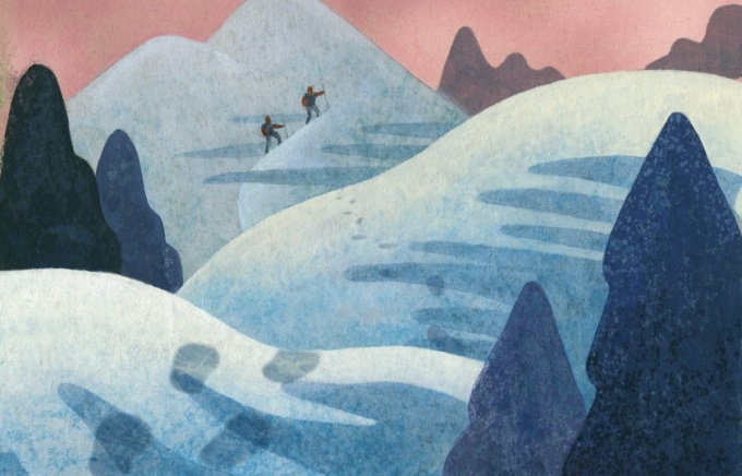 Illustration of two hikers traversing a trail in the snow