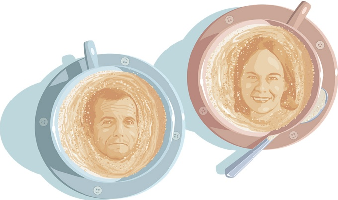 An illustration ofSteven Dubovsky and Melanie Green in coffee foam