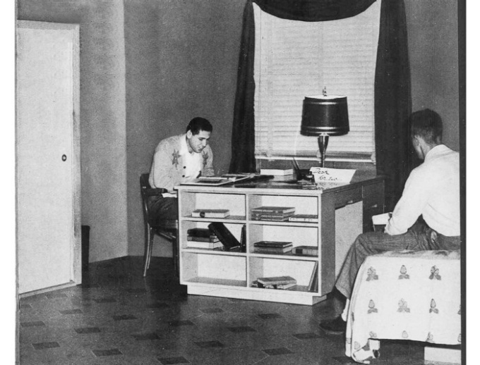 A sample dorm room from 1952