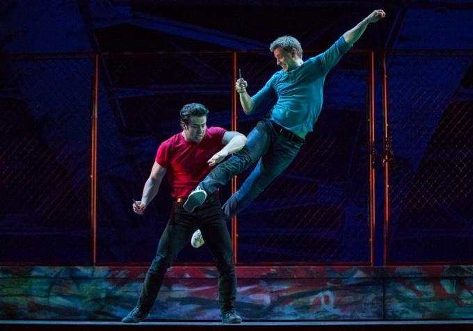 "Michael Jablonski (right) as Riff in a 2015 production of ""West Side Story."""