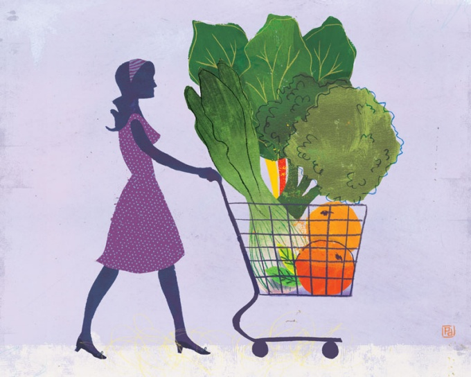 illustration of a grocery shopper.