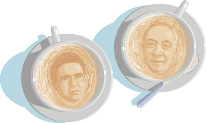 an illustration of Ernest Sternberg and Hiro Hata faces in the foam of two cups of coffee.