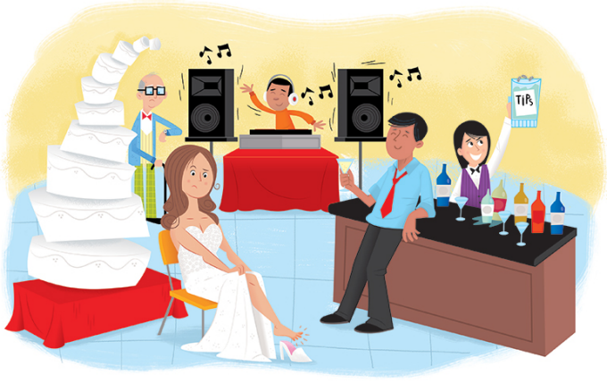 an illustration of a wedding reception with a disgruntled bride, towering wedding cake and bartender showcasing tips.