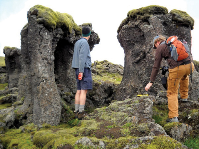 Lava pillars in Iceland's Skaelingar Valley.