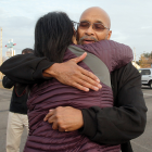Prade hugs Jodi Shorr, administrative director for the Ohio Innocence Project, following a news conference after his release from the Madison Correctional Institution.