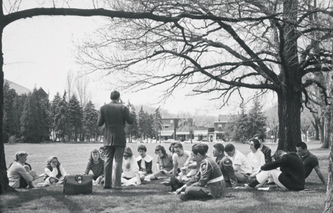 Class held outdoors on South Campus