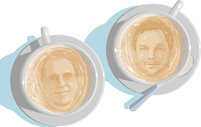 an illustration of Kenneth Leonard and David Herzberg faces in the foam of two cups of coffee