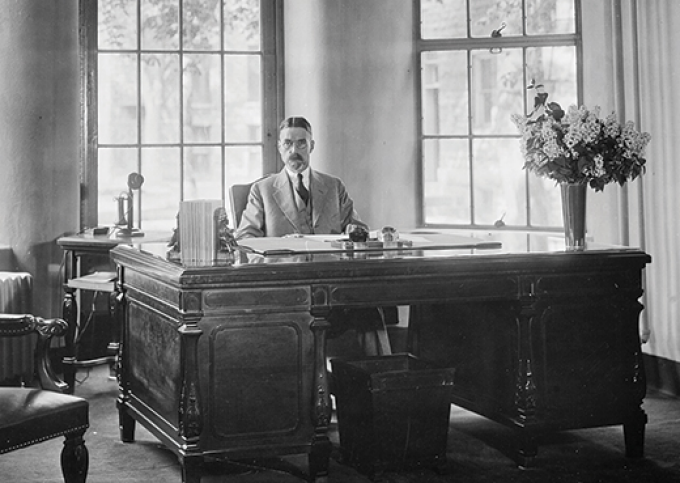 Samuel Capen at his desk in Hayes Hall