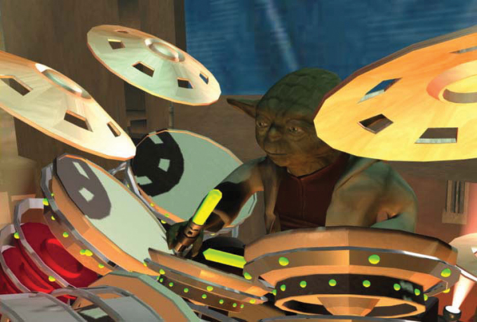 Yoda plays the drums