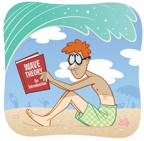 "Illustration of man on beach reading a book about ""wave theory"" while in the process of getting hit by a tidal wave."