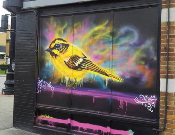 graffiti mural of a yellow songbird