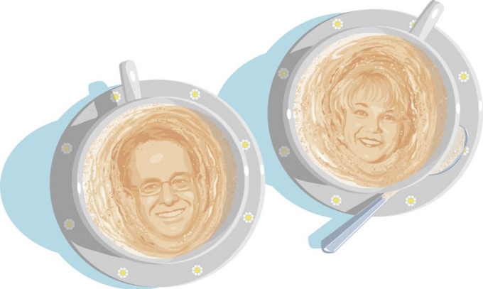 an illustration of Robert Davies and Virginia Horvath faces in the foam of two cups of coffee