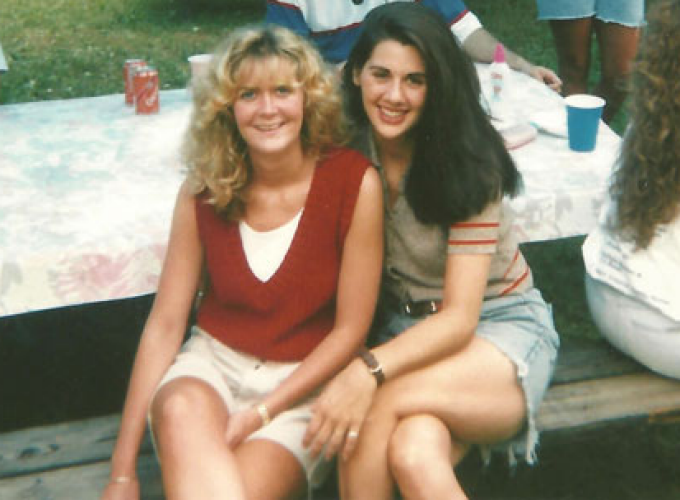 Polly Hall and Kristen Danas at a post-graduation picnic.