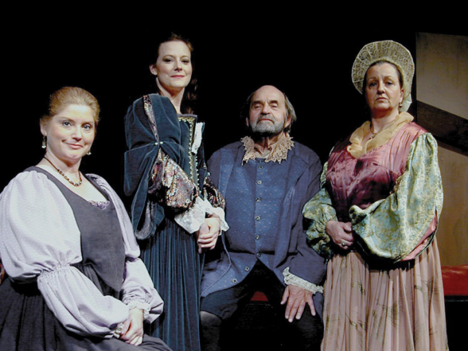 "From left: Joyce Stilson, Katie White, Saul Elkin and Pamela Rose Mangus in ""The Careful Glover,"" 2009."