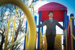 Youfa Wang at UB's South Campus Child Care Center playground.