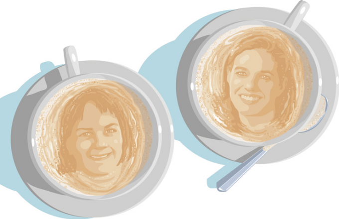 an illustration of Kari Winter and Amanda Nickerson faces in the foam of two cups of coffee