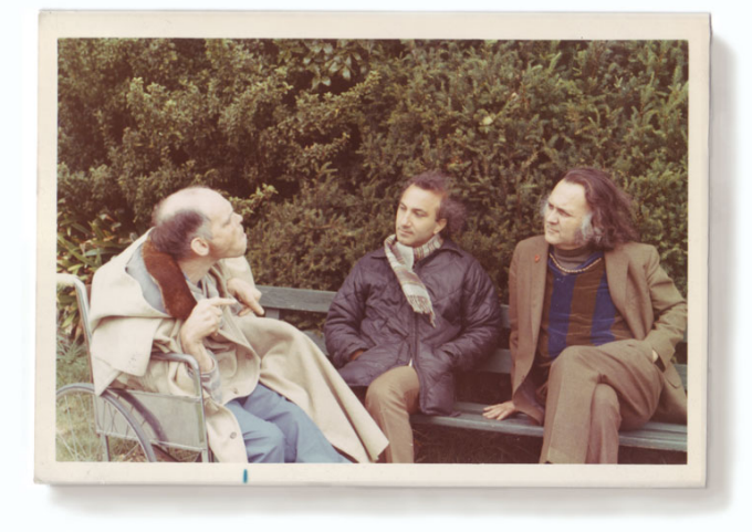 Larry Eigner (left), Portuguese poet Alberto de Lacerda (middle) and Robert Duncan (right).