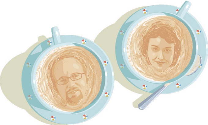 An illustration of Mark Bartholomew and Sanjukta Das Smith faces in the foam of two cups of coffee