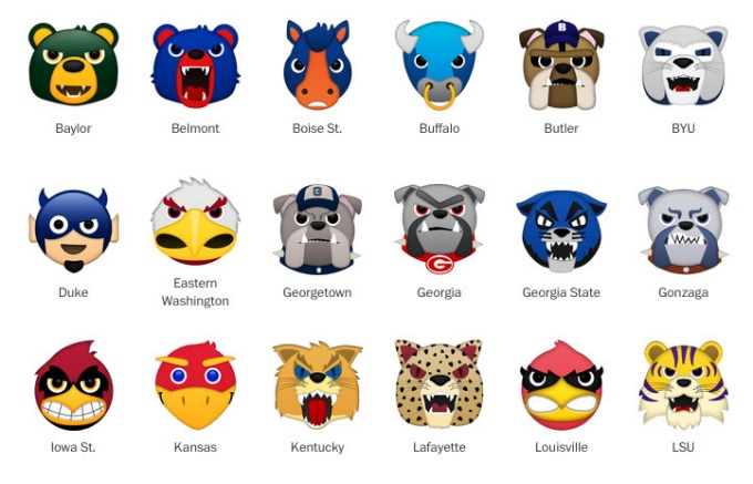 Washington Post march madness mascot icons