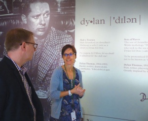 "Associate Curator James Maynard tours the ""Dylan"" exhibition at the National Library of Wales with Jaimie Thomas."