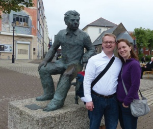 The author and James Maynard in Dylan Thomas Square, Swansea.