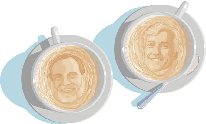 an illustration of Lynn Kozlowski and Gary Giovino faces in the foam of two cups of coffee