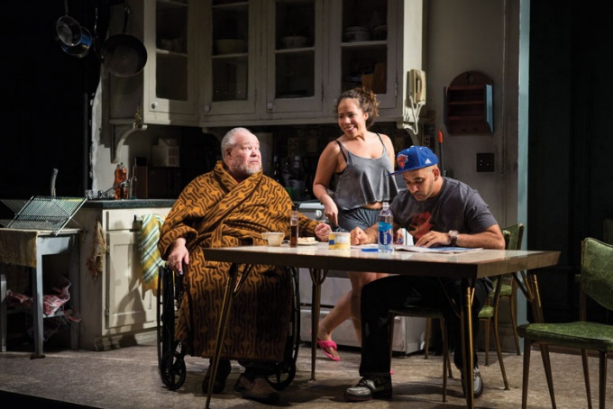 "(L-R) Stephen McKinley Henderson, Rosal Colón and Victor Almanzar in the world premiere of ""Between Riverside and Crazy."""