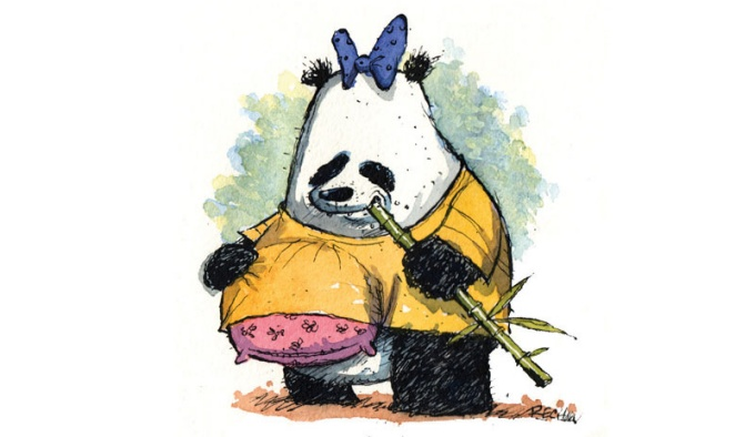 Illustration of a Panda with a pillow under its shirt.