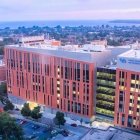 Sunset aerial view of the Jacobs School of Medicine and Biomedical Sciences on UB's Downtown campus.