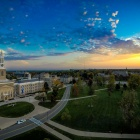 A panoramic view of Hayes Hall at Sunrise.
