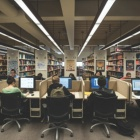 Students using the public desktops while studying at Lockwood Memorial Library.