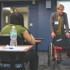 Students of the School of Public Health take part in lesson about community accessibility for people with disabilities.