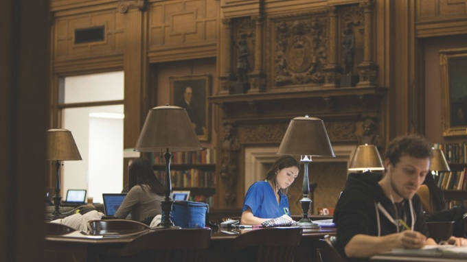 Students studying in the Health Sciences Library located on UB South Campus.