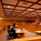 Students presenting an argument before a mock court at UB.