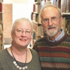 Associate Professor of Romance Languages and Literatures, Jeannette Ludwig and SUNY Distinguished Service Professor of Political Science, Claude Welch in Lockwood Library stacks.