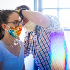 Nursing student volunteering at UB on the Green on the South Campus.