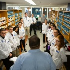 Students in Pharmacy class in Cooke Hall.