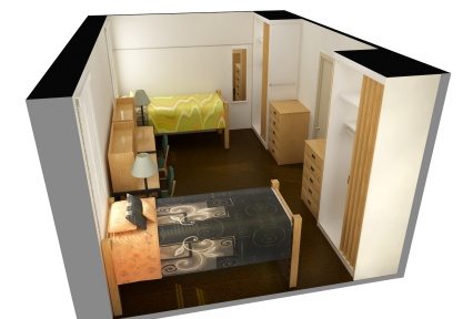 3D image of a residence hall double room in Richmond Hall.