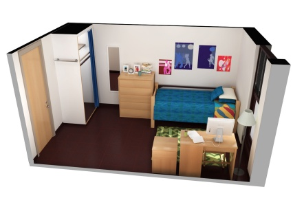 3d image of a single residence hall room in Fargo Hall.