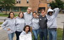 campus living staff in front of residence halls